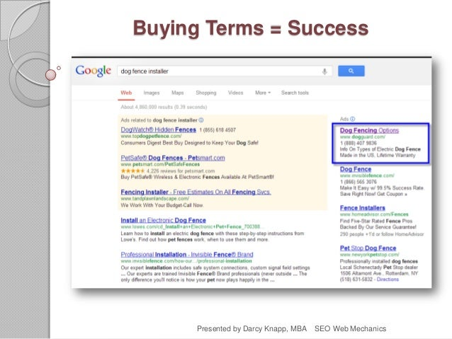 Buying Terms = Success Presented by Darcy Knapp, MBA SEO Web Mechanics