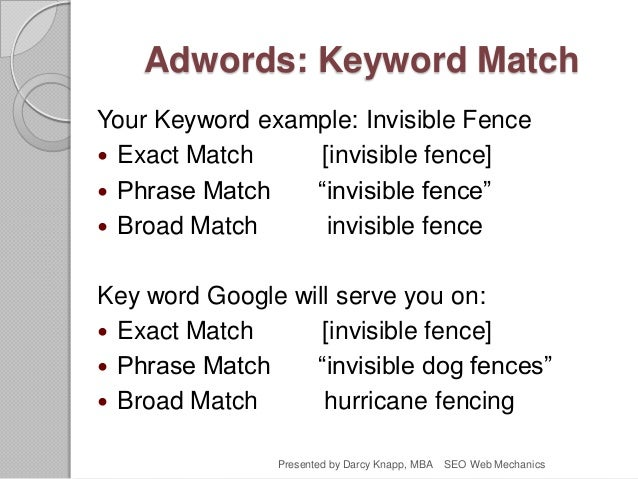 """Adwords: Keyword Match Your Keyword example: Invisible Fence  Exact Match [invisible fence]  Phrase Match """"invisible fen..."""