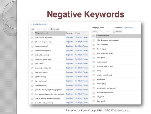 Negative Keywords Presented by Darcy Knapp, MBA SEO Web Mechanics