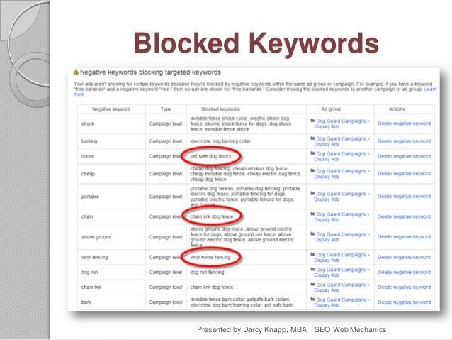 Blocked Keywords Presented by Darcy Knapp, MBA SEO Web Mechanics