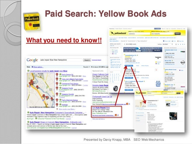 Paid Search: Yellow Book Ads What you need to know!! Presented by Darcy Knapp, MBA SEO Web Mechanics