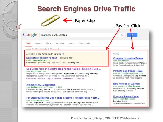 Search Engines Drive Traffic Paper Clip Pay Per Click Presented by Darcy Knapp, MBA SEO Web Mechanics