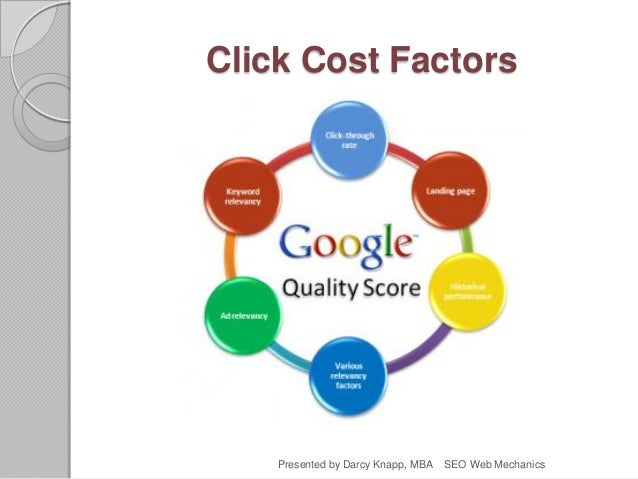 Click Cost Factors Presented by Darcy Knapp, MBA SEO Web Mechanics