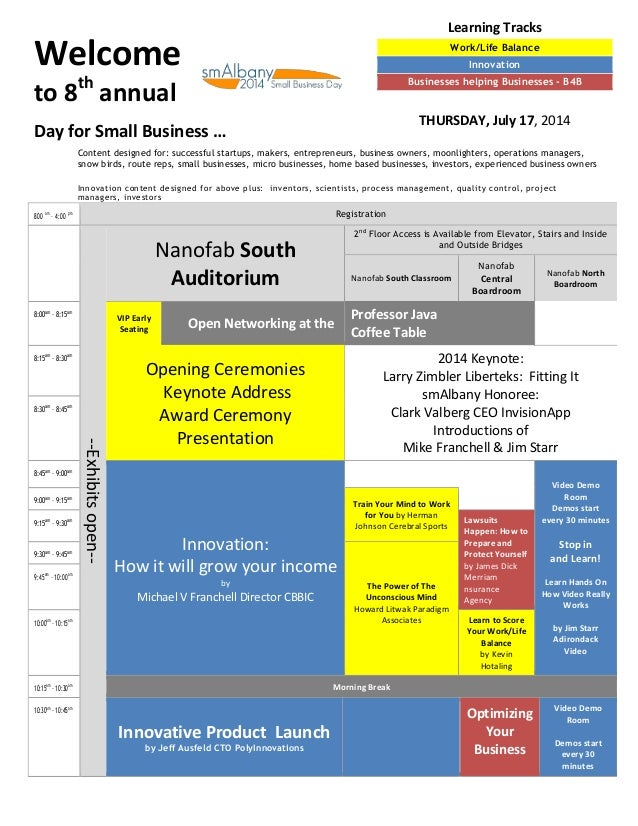 Welcome to 8th annual Day for Small Business … 800 am – 4:00 pm Registration --Exhibitsopen-- Nanofab South Auditorium 2nd...