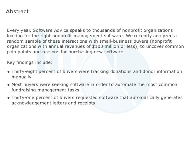 Software Advice BuyerView: Fundraising & Donor Management Report 2014 Slide 2