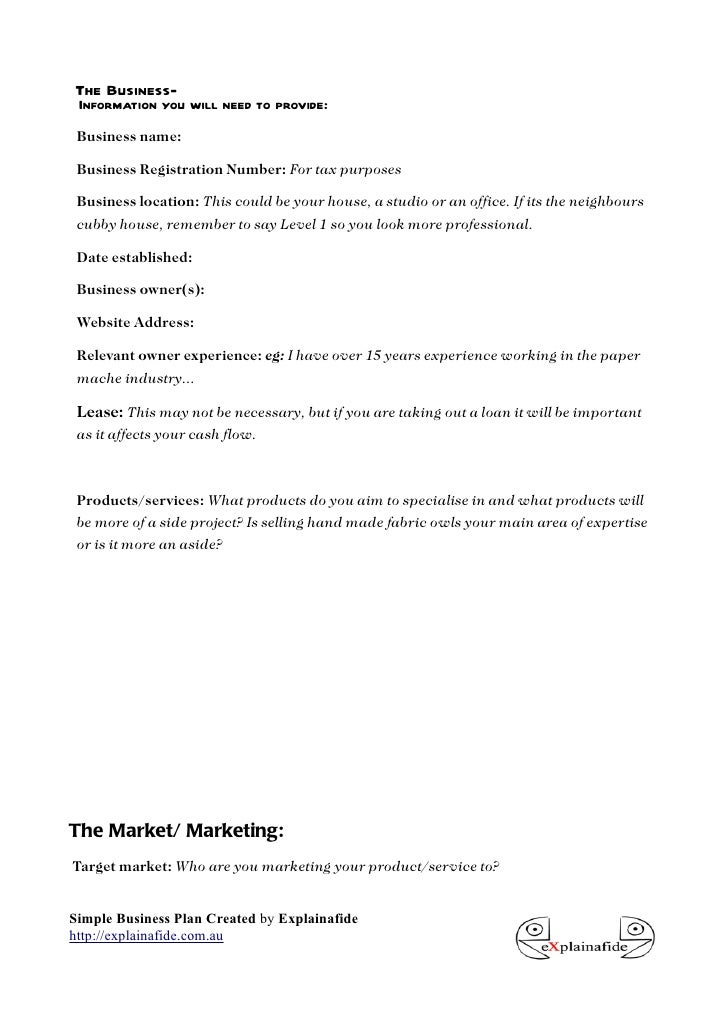 Free Small Business Plan Template - Simple business plan templates