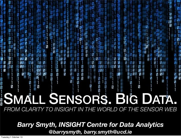 SMALL SENSORS. BIG DATA.FROM CLARITY TO INSIGHT IN THE WORLD OF THE SENSOR WEB Barry Smyth, INSIGHT Centre for Data Analyt...