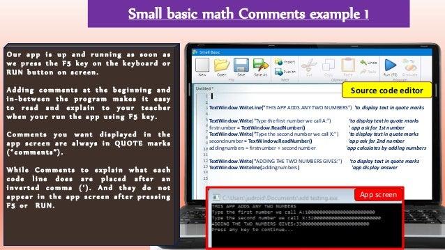 Small Basic Calculator Apps lesson