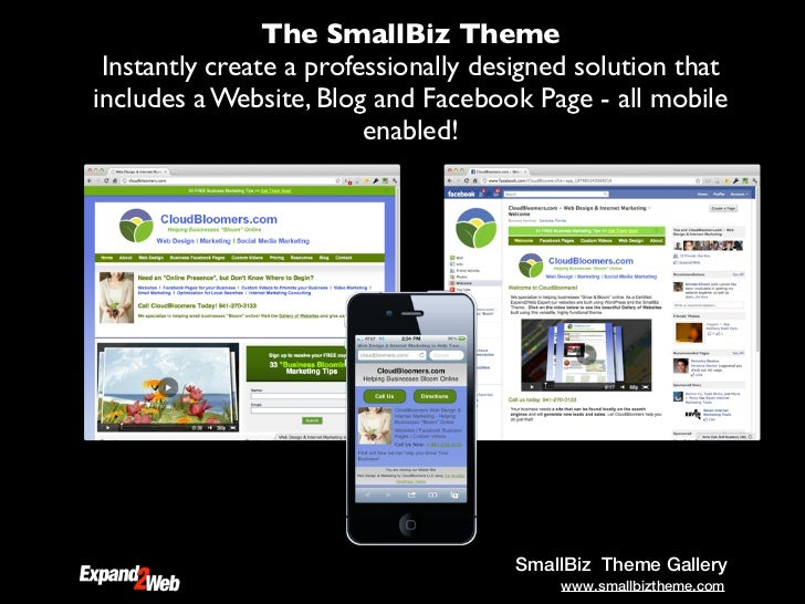 The SmallBiz Theme Instantly create a professionally designed solution thatincludes a Website, Blog and Facebook Page - al...
