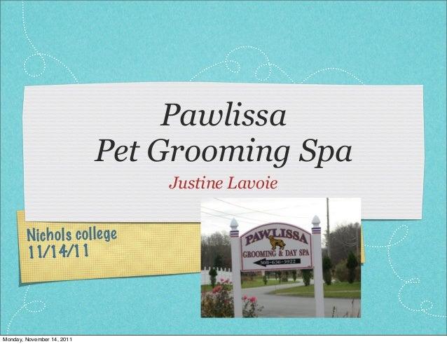 Nichols college 11/14/11 Pawlissa Pet Grooming Spa Justine Lavoie Monday, November 14, 2011