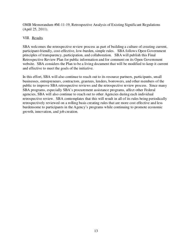 Small Business Administration Regulatory Reform Plan August 2011