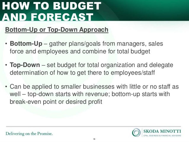 Top down vs bottom up budgeting