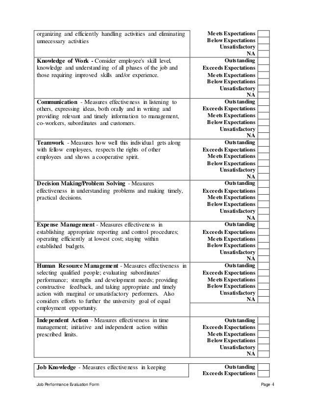 job performance evaluation form