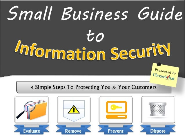 Small Business Guideto4 Simple Steps To Protecting You & Your CustomersEvaluate Remove Prevent Dispose