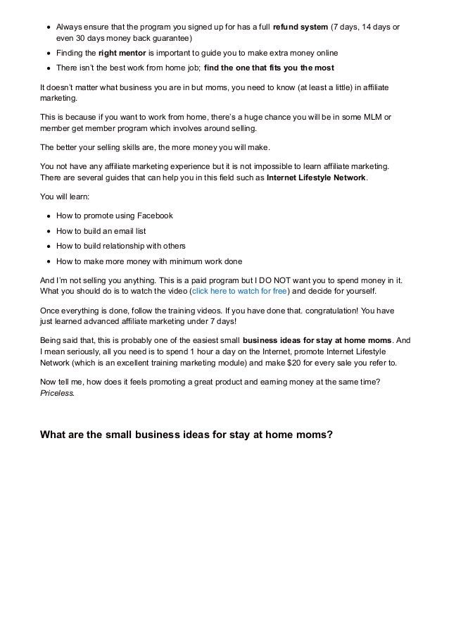 small business ideas for stay at home moms 2014