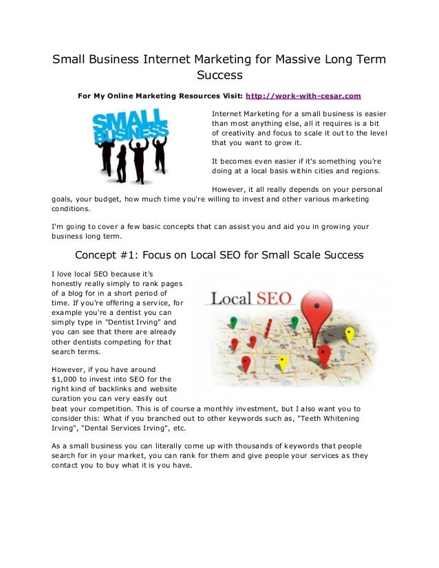 Small Business Internet Marketing for Massive Long Term