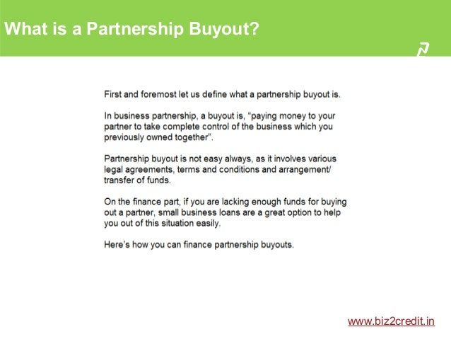 Partnership Buyout Using Small Business Loan In India