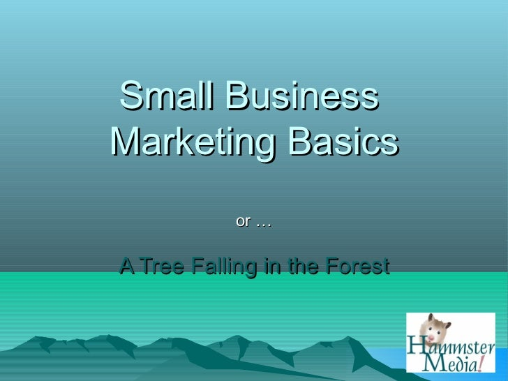 Small BusinessMarketing Basics            or …A Tree Falling in the Forest