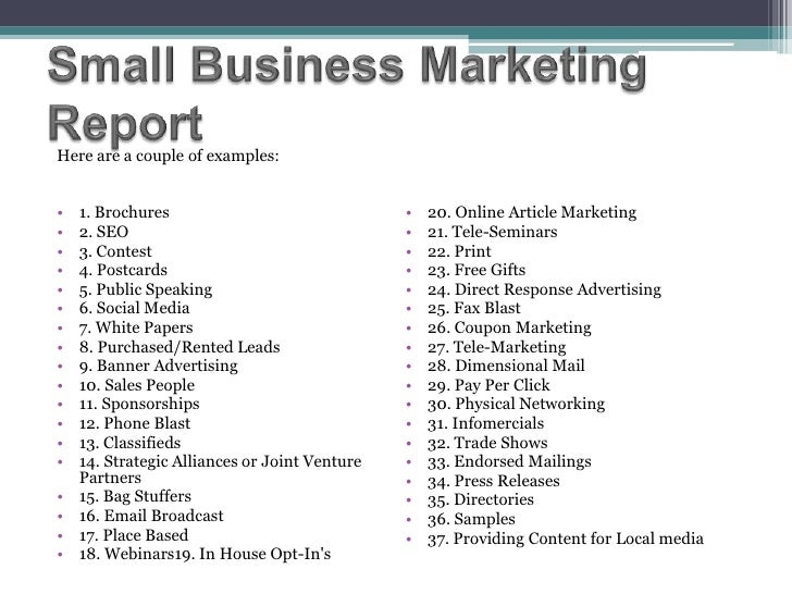 business report example marketing proposal
