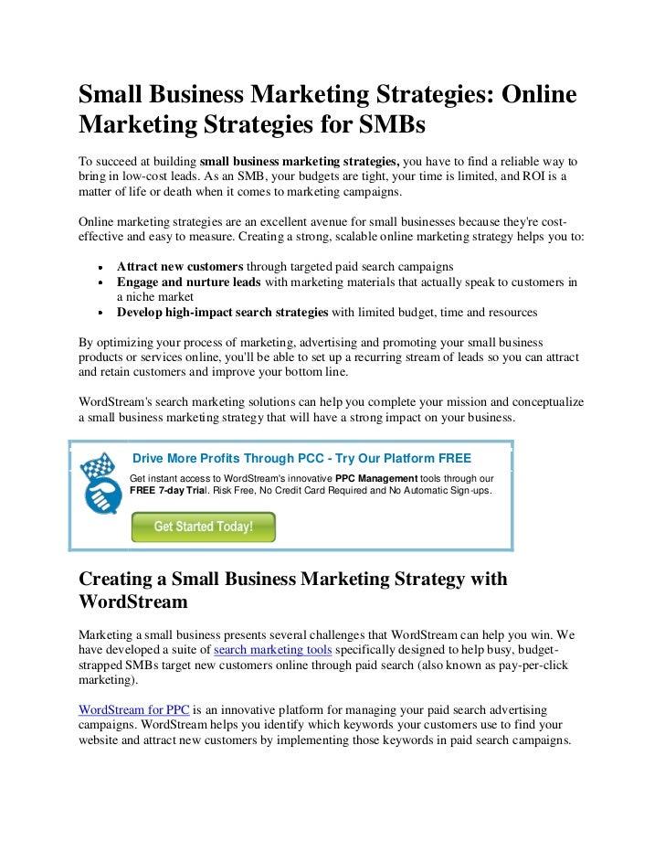 Small Business Marketing Strategies: OnlineMarketing Strategies for SMBsTo succeed at building small business marketing st...