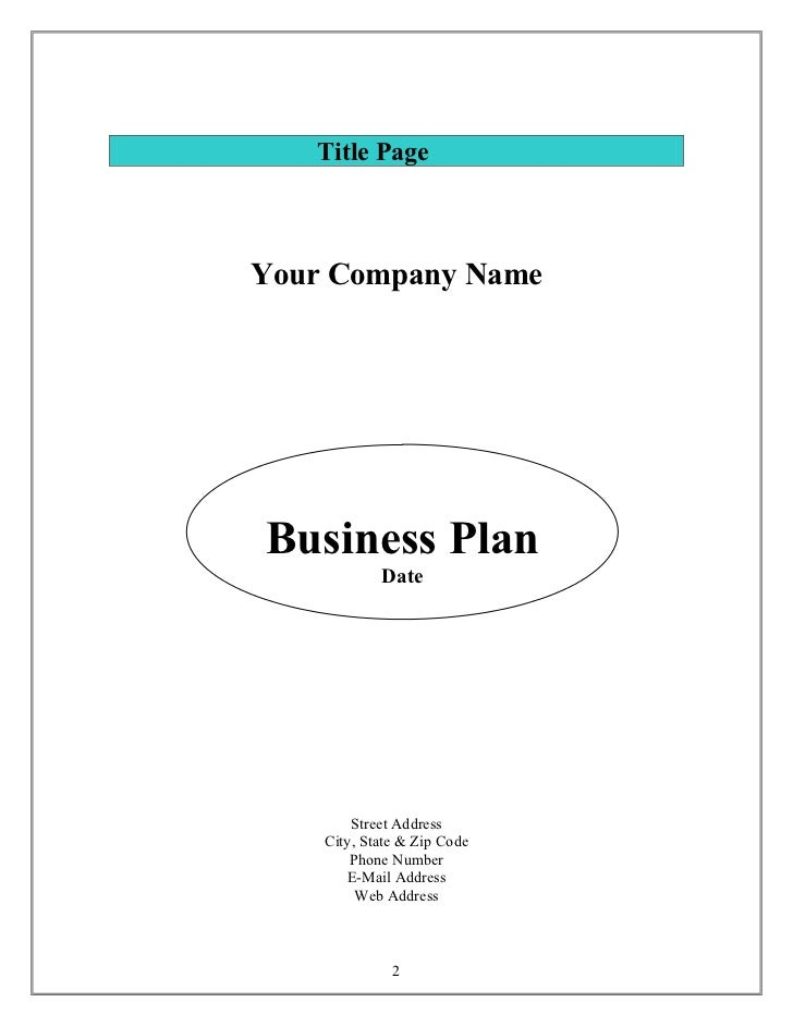 Small business plan template us small business administration small business training network sbatraining 2 title pageyour company namebusiness plan wajeb