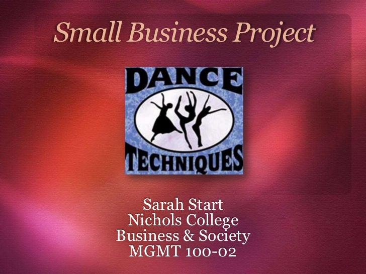 Small Business Project        Sarah Start      Nichols College     Business & Society      MGMT 100-02