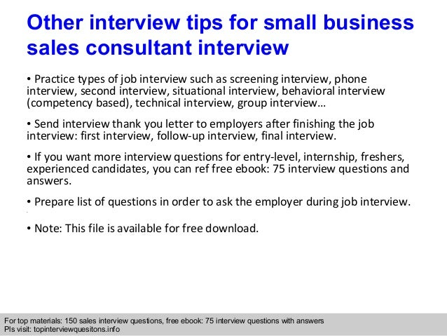 small business sales consultant interview questions and