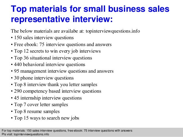 small business sales representative interview questions