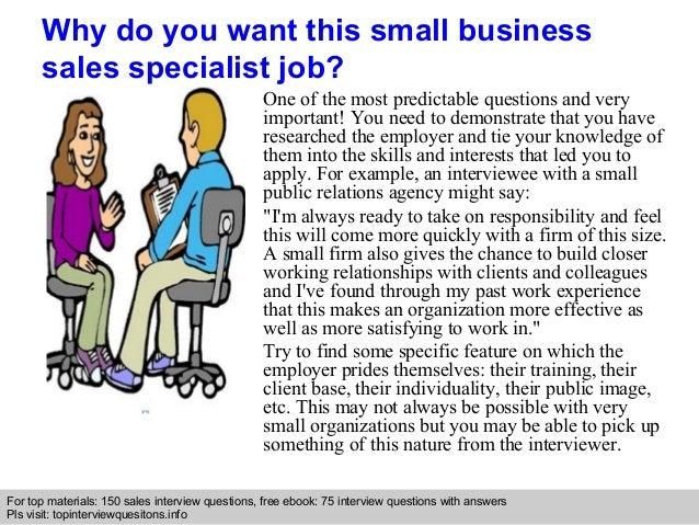 small business sales specialist interview questions and