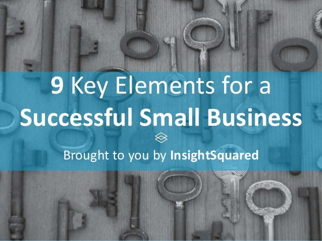 9 Key Elements for a Successful Small Business Brought to you by InsightSquared