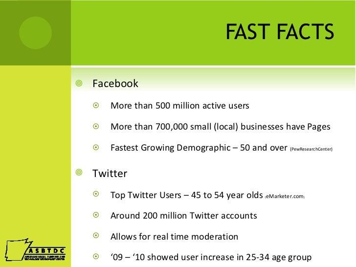 FAST FACTS <ul><li>Facebook </li></ul><ul><ul><li>More than 500 million active users </li></ul></ul><ul><ul><li>More than ...