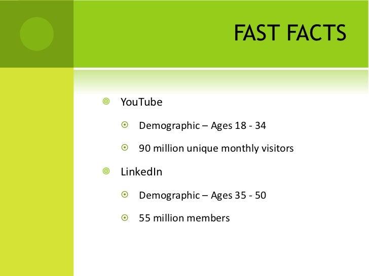 FAST FACTS <ul><li>YouTube </li></ul><ul><ul><li>Demographic – Ages 18 - 34 </li></ul></ul><ul><ul><li>90 million unique m...