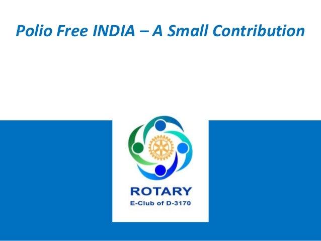 Polio Free INDIA – A Small Contribution