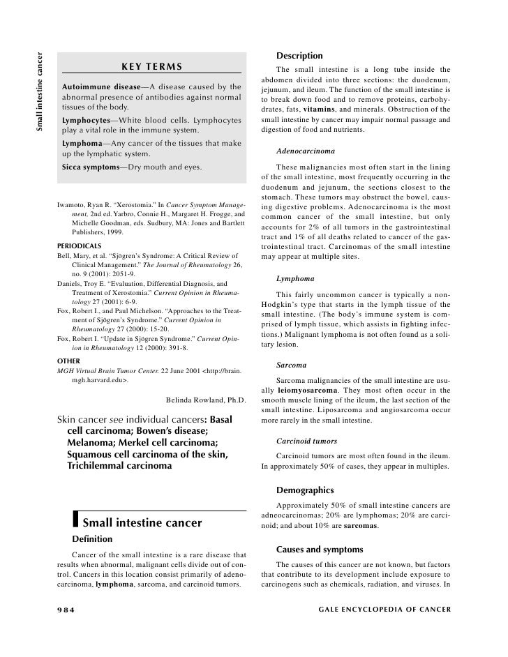 Small intestine cancer                                                                                               Descr...