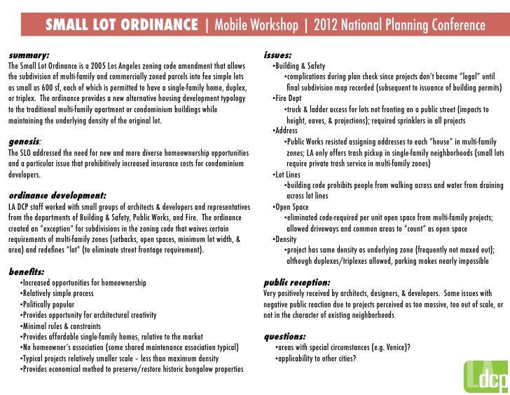 small lot ordinance mobile workshop apa 2012