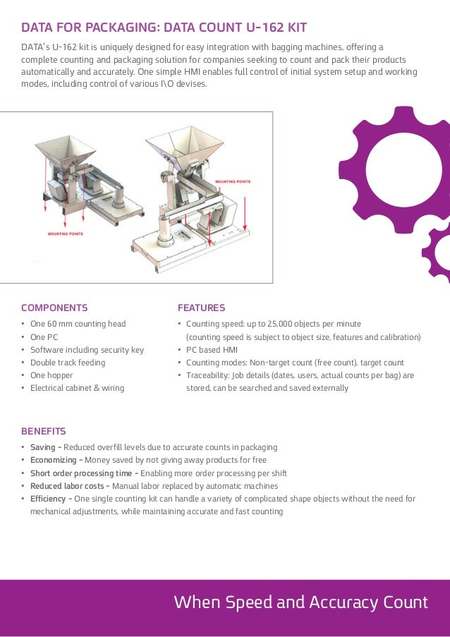 DATA's U-162 kit is uniquely designed for easy integration with bagging machines, offering a complete counting and packagi...