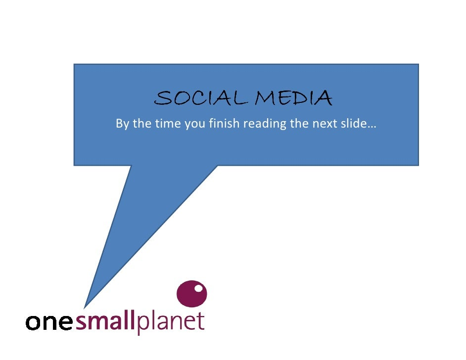 SOCIAL MEDIA By the time you finish reading the next slide…