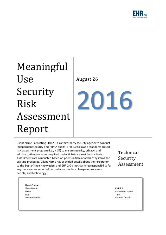 Meaningful Use Risk Assessment Template – Security Risk Assessment Template