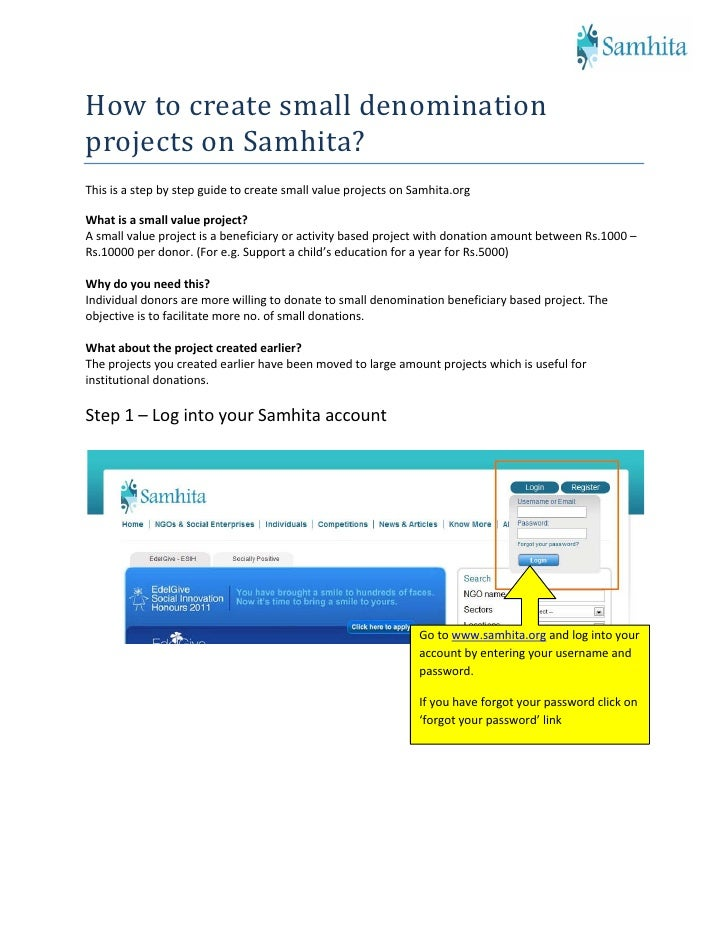 How to create small denomination projects on Samhita? This is a step by step guide to create small value projects on Samhi...