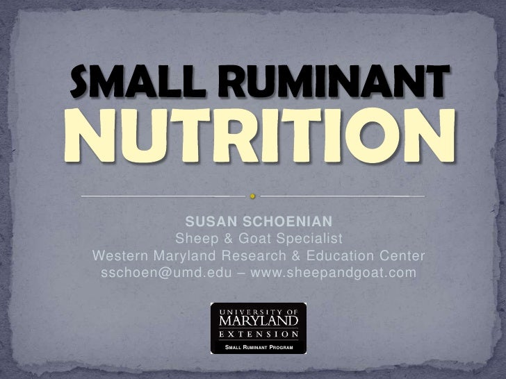 SMALL RUMINANT<br />NUTRITION<br />SUSAN SCHOENIANSheep & Goat SpecialistWestern Maryland Research & Education Centersscho...