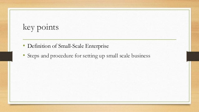 small scale business enterprise Small business grants are available from the government, banks and microfinance institutions when you provide a feasible business plan as you acquire the capital, it would be wise to familiarize yourself with the pros and cons of a small scale establishment to help you prepare for future challenges.