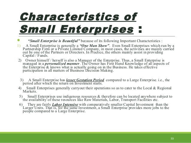 what are the characteristics of small business