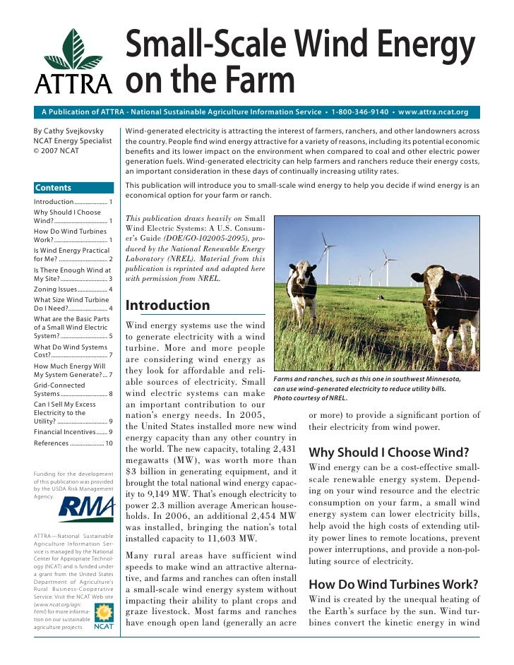 Small-Scale Wind Energy                                               on the Farm    A Publication of ATTRA - National Sus...