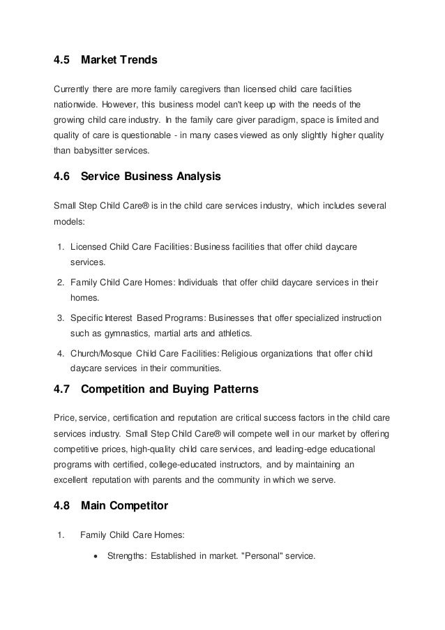 Child care business plan template day care business plan excerpt small step child care business plan home daycare business plan template accmission Gallery