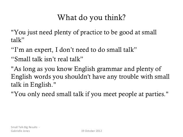 how to do small talk