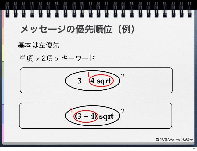 第26回Smalltalk勉強会 メッセージの優先順位(例) 基本は左優先 単項 > 2項 > キーワード 3 + 4 sqrt (3 + 4) sqrt 1 2 21 17