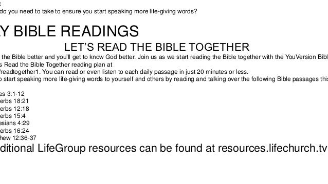 : do you need to take to ensure you start speaking more life-giving words?  LY BIBLE READINGS LET'S READ THE BIBLE TOGETHE...