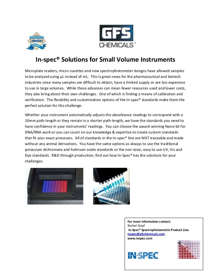 <br />In-spec® Solutions for Small Volume Instruments<br />Micr...