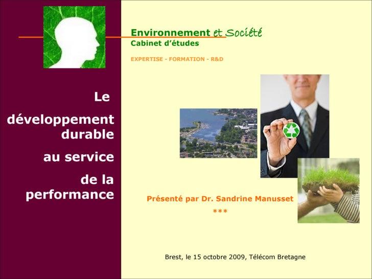 Environnement           et Société                  Cabinet d'études                   EXPERTISE - FORMATION - R&D        ...