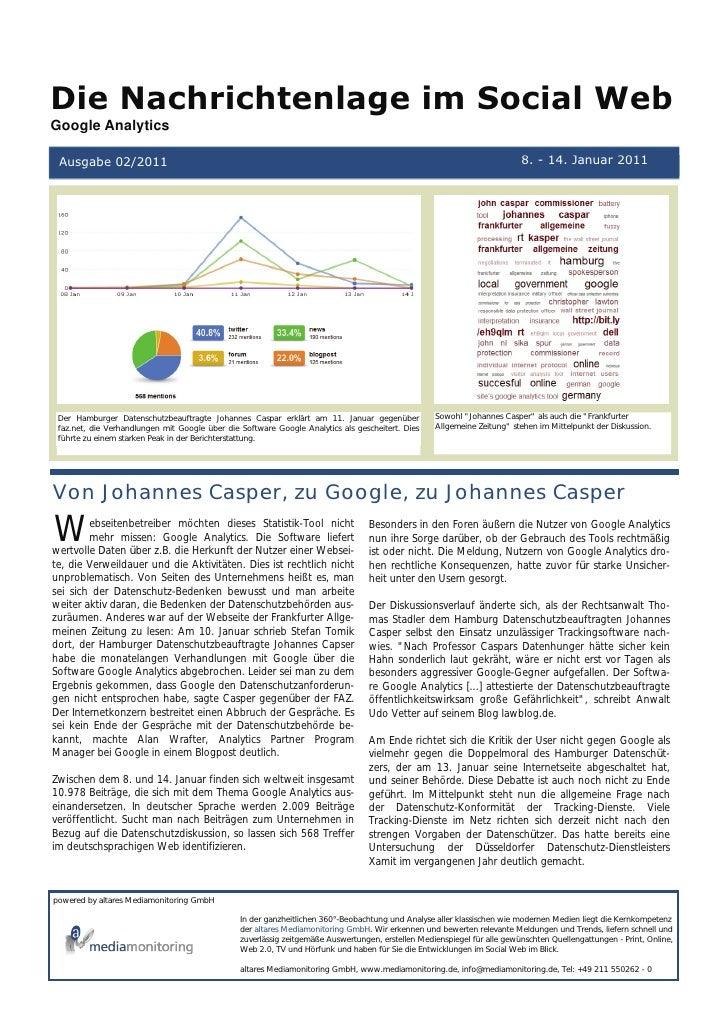 Die Nachrichtenlage im Social WebGoogle Analytics Ausgabe 02/2011                                                         ...